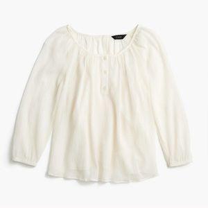 J. Crew popover cotton silk blend blouse cream